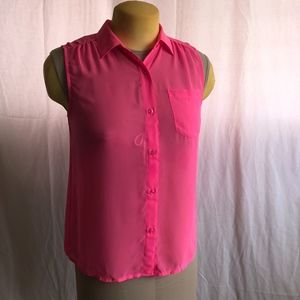 American Eagle Hot Pink Seer Button Down Top